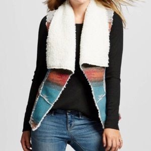 Mossimo Aztec Print Sherpa Lined Vest | XXL